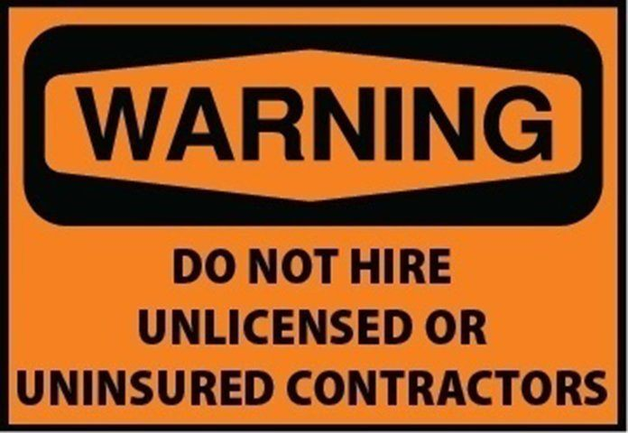 unlicensed uninsured electrical contractor